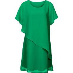 Sukienka z tkaniny bonprix zieleń trawiasta. Zielone sukienki damskie bonprix, z tkaniny, z asymetrycznym kołnierzem. Za 109.99 zł.