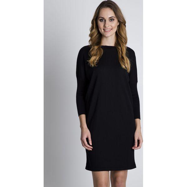 85731c292e Czarna jesienna sukienka z długim rękawem BIALCON - Czarne sukienki ...