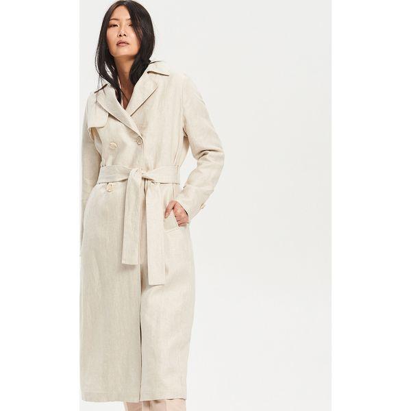 d5e9cfc6 Lniany płaszcz - Beżowy