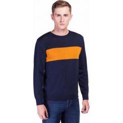 Sweter PIETRO SWWR000181. Brązowe swetry przez głowę męskie Giacomo Conti, na jesień, z jeansu, z klasycznym kołnierzykiem. Za 199.00 zł.