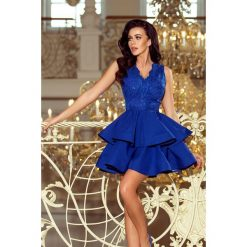Sukienka z koronkowym dekoltem sf-200. Niebieskie sukienki damskie SaF, z koronki, wizytowe. Za 249.90 zł.