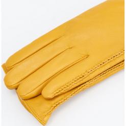 Skórzane rękawiczki - Żółty. Żółte rękawiczki damskie Reserved. Za 99.99 zł.