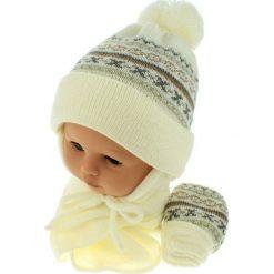 Czapka niemowlęca z szalikiem i rękawiczkami 013E kremowa. Czapki dla dzieci marki Reserved. Za 45.90 zł.