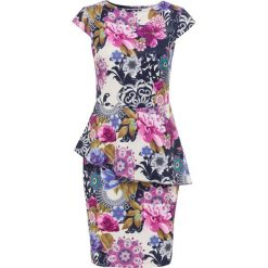Sukienka w kwiatowy deseń bonprix kremowo-ciemnoniebiesko-lila w kwiaty. Sukienki damskie marki DOMYOS. Za 149.99 zł.