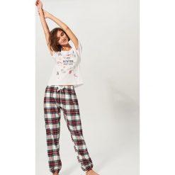 Dwuczęściowa piżama - Kremowy. Białe piżamy damskie Reserved. Za 99.99 zł.