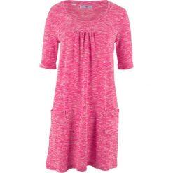 Sukienka shirtowa melanżowa, rękawy 1/2 bonprix ciemnoróżowo-biały melanż. Czerwone sukienki damskie bonprix, melanż. Za 49.99 zł.