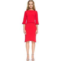 Czerwona Elegancka Bluzka z Falbankami przy Rękawach. Czerwone bluzki damskie Molly.pl, z jeansu, biznesowe, z dekoltem na plecach, z długim rękawem. Za 78.90 zł.