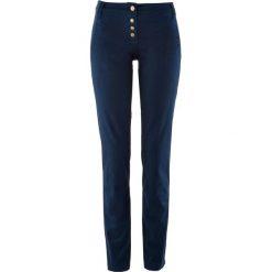Spodnie z bawełny ze stretchem, z guzikami bonprix ciemnoniebieski. Spodnie materiałowe damskie marki DOMYOS. Za 59.99 zł.