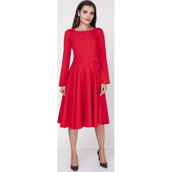 712cffa6360c93 Czerwona Wizytowa Sukienka Midi z Szerokim Dołem - Sukienki damskie ...