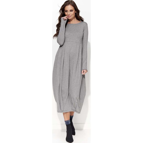 682a7f8cce Szara Sukienka Midi Bombka z Długim Rękawem - Szare sukienki damskie ...