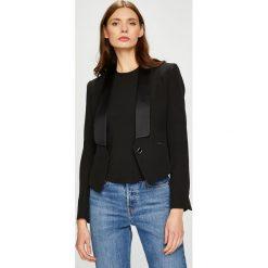 Trussardi Jeans - Żakiet. Czarne żakiety damskie TRUSSARDI JEANS, z acetatu, eleganckie. W wyprzedaży za 849.90 zł.