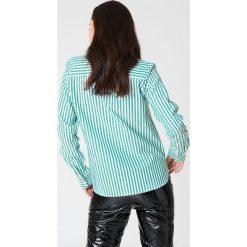 Rut&Circle Koszula w paski Ina - Green,Multicolor. Zielone koszule damskie Rut&Circle, w paski, z bawełny, z okrągłym kołnierzem. Za 121.95 zł.