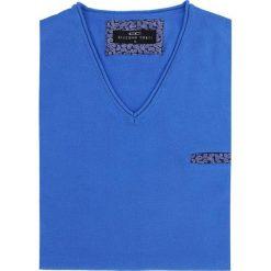 Sweter DARIO 16-05JK. Niebieskie swetry przez głowę męskie Giacomo Conti, z bawełny, z klasycznym kołnierzykiem. Za 169.00 zł.