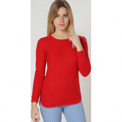 Sweter w kolorze czerwonym. Czerwone swetry damskie TrakaBarraka, z okrągłym kołnierzem. W wyprzedaży za 109.95 zł.