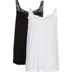Top (2 szt.) bonprix czarny + biały. Białe topy damskie bonprix, w koronkowe wzory, z koronki, na ramiączkach. Za 75.98 zł.