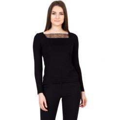 Dzianinowa czarna bluzka z długim rękawem BIALCON. Czarne bluzki damskie BIALCON, z dzianiny, wizytowe, z długim rękawem. W wyprzedaży za 42.00 zł.