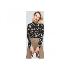 Blanche czarna koszula z printem w stylu Dior. Czarne koszule damskie Zoee, z poliesteru, eleganckie, z długim rękawem. Za 199.99 zł.