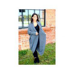 Długi klasyczny sweter damski, grafitowy sweter asymetryczny, kardigan na zimę. Szare kardigany damskie Ekoszale. Za 189.00 zł.