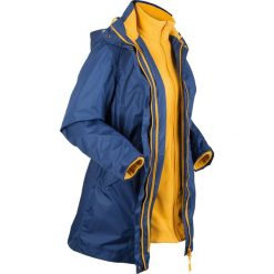 Płaszcz outdoorowy funkcyjny 3 w 1 bonprix kobaltowy - żółty curry. Niebieskie płaszcze damskie bonprix, z polaru. Za 299.99 zł.