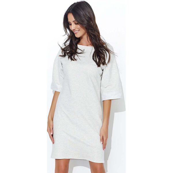 6048a496e1f275 Beżowa Dresowa Sukienka z Szerokim Rękawem do Łokcia - Sukienki ...