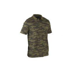 Koszulka myśliwska krótki rękaw polo 100 camo. Zielone koszulki polo męskie SOLOGNAC, z bawełny, z krótkim rękawem. Za 49.99 zł.