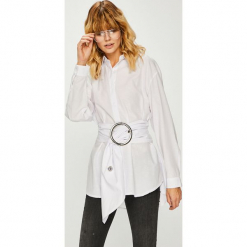 Trendyol - Koszula. Szare koszule damskie Trendyol, w paski, z bawełny, z długim rękawem. Za 79.90 zł.