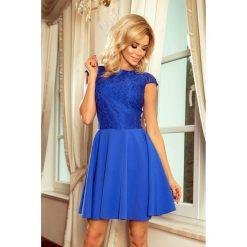Sukienka rozkloszowana z koronką sf-157. Niebieskie sukienki damskie SaF, w koronkowe wzory, z koronki, wizytowe. Za 189.00 zł.