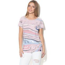 Colour Pleasure Koszulka damska CP-034  282 niebiesko-błękitno-różowa r. XXXL-XXXXL. Bluzki damskie Colour Pleasure. Za 70.35 zł.