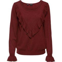 Sweter z falbaną bonprix czerwony kasztanowy. Swetry damskie marki KALENJI. Za 49.99 zł.