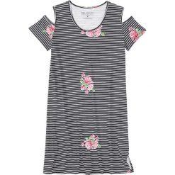 Koszula nocna bonprix czarno-biały w paski i kwiaty. Czarne koszule nocne damskie bonprix, w kwiaty. Za 37.99 zł.