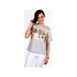 Koszulka luźny fason złoty napis. Szare t-shirty damskie Knitcat, z nadrukiem, z bawełny. Za 79.00 zł.