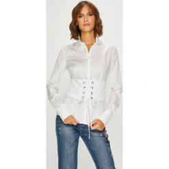Guess Jeans - Koszula Valeria. Szare koszule damskie Guess Jeans, z bawełny, casualowe, z klasycznym kołnierzykiem, z długim rękawem. Za 369.90 zł.