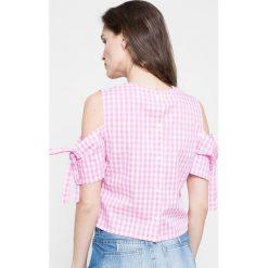 Missguided - Bluzka. Szare bluzki damskie Missguided, w kratkę, z bawełny, casualowe, z okrągłym kołnierzem. W wyprzedaży za 39.90 zł.