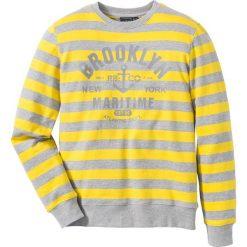 Bluza dresowa Slim Fit bonprix jasnoszary melanż - żółty w paski. Szare bluzy męskie marki Calvin Klein Jeans, z nadrukiem, z bawełny. Za 49.99 zł.