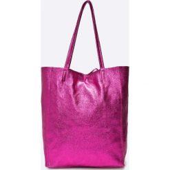 Answear - Torebka skórzana Violet Kiss. Różowe torebki shopper damskie ANSWEAR, z materiału. W wyprzedaży za 169.90 zł.