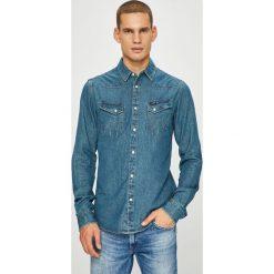 Wrangler - Koszula. Szare koszule męskie Wrangler, z bawełny, z klasycznym kołnierzykiem, z długim rękawem. Za 279.90 zł.