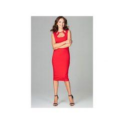 Sukienka K475 Czerwony. Czerwone sukienki damskie Lenitif, z materiału, klasyczne, bez rękawów. Za 179.00 zł.