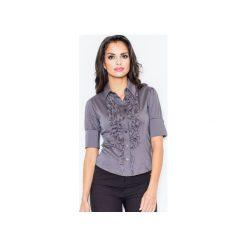 Koszula M025 Szary. Szare koszule damskie Figl, z bawełny, eleganckie, z żabotem, z krótkim rękawem. Za 77.00 zł.
