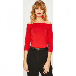 Medicine - Bluzka Basic. Czerwone bluzki damskie MEDICINE, z bawełny, casualowe, z dekoltem w łódkę. Za 39.90 zł.