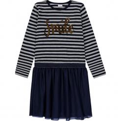 Sukienka w kolorze szaro-granatowym. Niebieskie sukienki dla dziewczynek Königsmühle, w paski. W wyprzedaży za 77.95 zł.