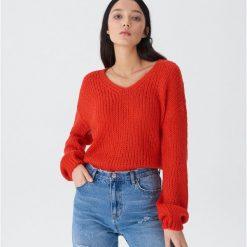 Sweter z bufiastymi rękawami - Pomarańczo. Szare swetry damskie House. Za 79.99 zł.