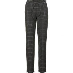 Spodnie BOYFRIEND z materiału w optyce wełny bonprix szaro-biel wełny w kratę. Szare spodnie materiałowe damskie bonprix, z wełny. Za 109.99 zł.