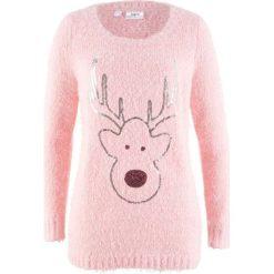 Sweter, długi rękaw bonprix jasnoróżowy pudrowy. Swetry damskie marki bonprix. Za 89.99 zł.