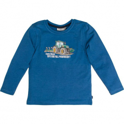 """Koszulka """"Traktor"""" w kolorze niebieskim. Niebieskie t-shirty dla chłopców marki Salt & Pepper, z nadrukiem, z długim rękawem. W wyprzedaży za 42.95 zł."""