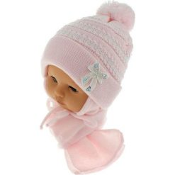 Czapka dziecięca z szalikiem CZ+S 042D różowa r. 46-48. Czapki dla dzieci marki Reserved. Za 52.11 zł.
