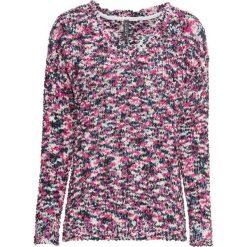 Sweter, splot popcorn bonprix ciemnoniebiesko-różowy wzorzysty. Swetry damskie marki bonprix. Za 69.99 zł.