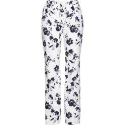 Spodnie lniane z nadrukiem bonprix biało-ciemnoniebieski z nadrukiem. Białe spodnie materiałowe damskie bonprix, z nadrukiem. Za 109.99 zł.