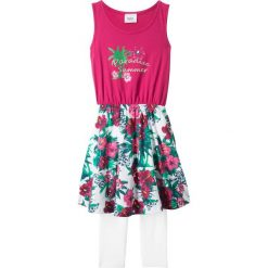 Sukienka + legginsy 3/4 (2 części) bonprix jeżynowo-biały. Legginsy dla dziewczynek marki bonprix. Za 37.99 zł.