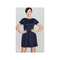 Sukienka K147 Granat. Niebieskie sukienki damskie Lenitif, klasyczne, z klasycznym kołnierzykiem, z krótkim rękawem. Za 139.00 zł.