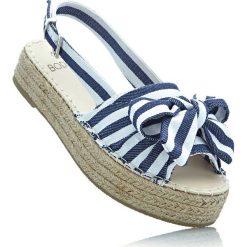 Sandały na koturnie bonprix niebieski dżins - biały w paski. Sandały damskie marki Nike. Za 37.99 zł.